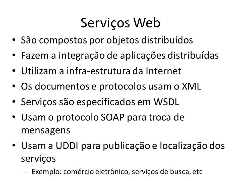 Serviços Web São compostos por objetos distribuídos