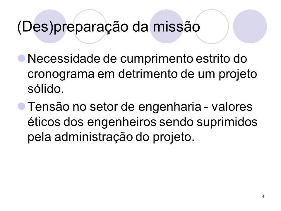 (Des)preparação da missão