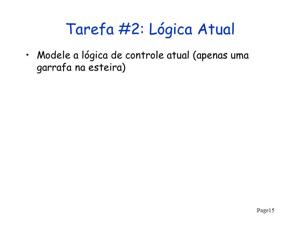 Tarefa #2: Lógica Atual Modele a lógica de controle atual (apenas uma garrafa na esteira)