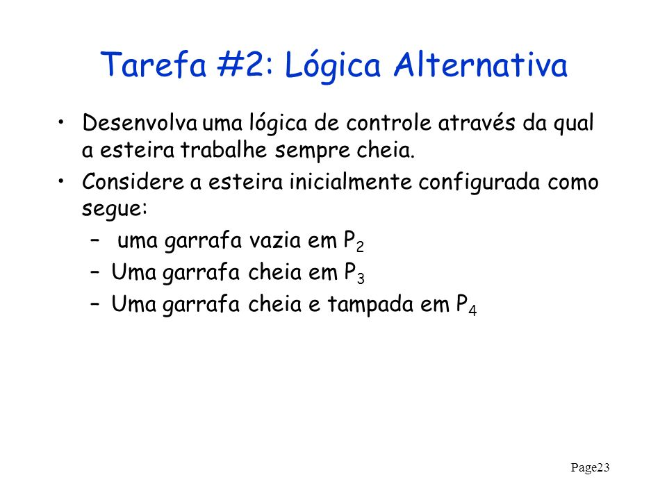 Tarefa #2: Lógica Alternativa