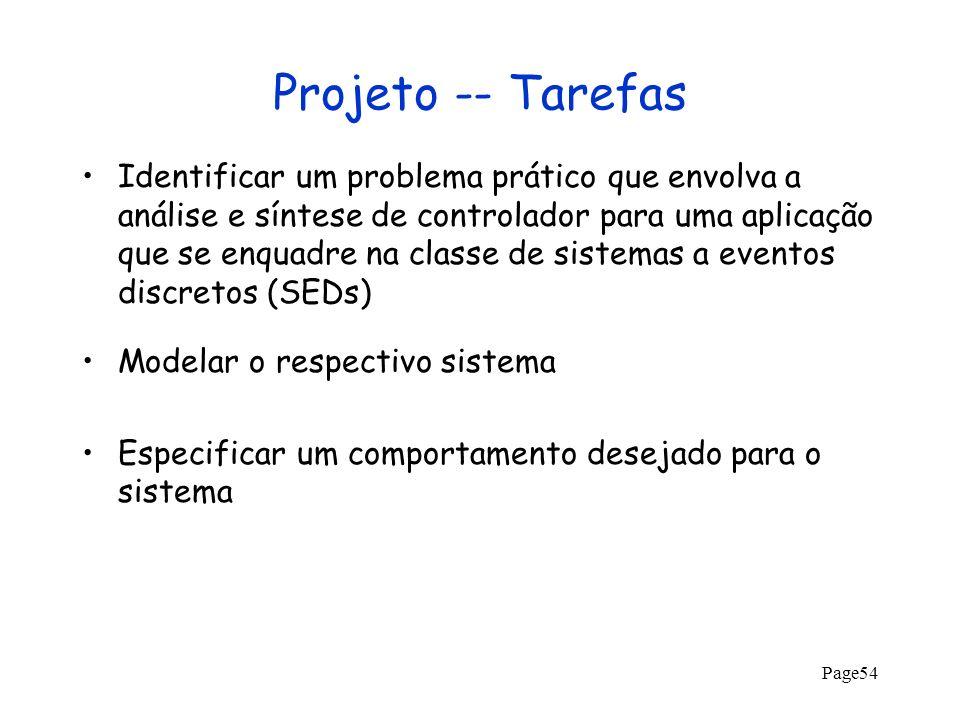 Projeto -- Tarefas