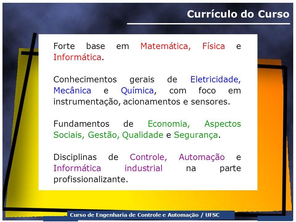 Currículo do Curso Forte base em Matemática, Física e Informática.