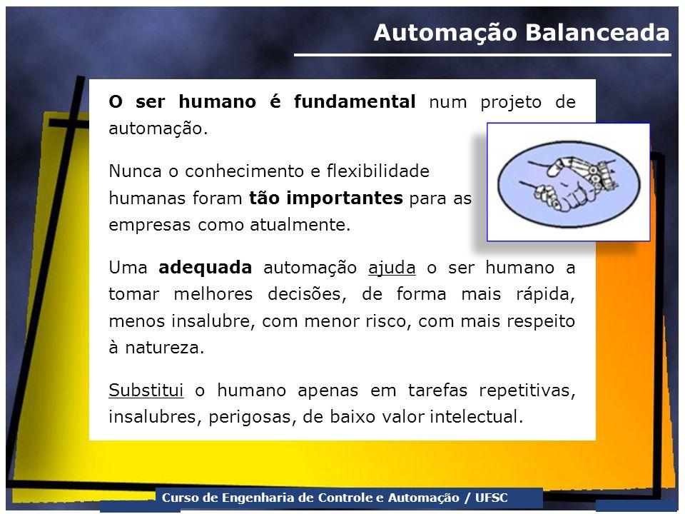 Automação Balanceada O ser humano é fundamental num projeto de automação. Nunca o conhecimento e flexibilidade.