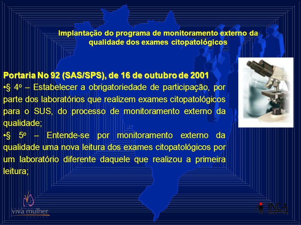 Portaria No 92 (SAS/SPS), de 16 de outubro de 2001