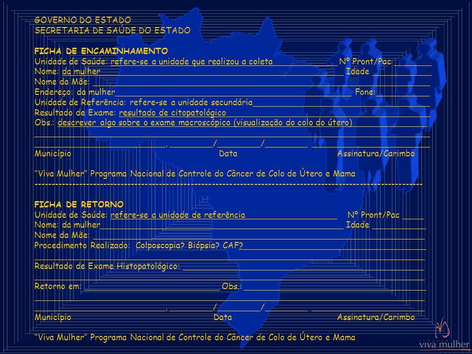 GOVERNO DO ESTADO SECRETARIA DE SAÚDE DO ESTADO. FICHA DE ENCAMINHAMENTO.