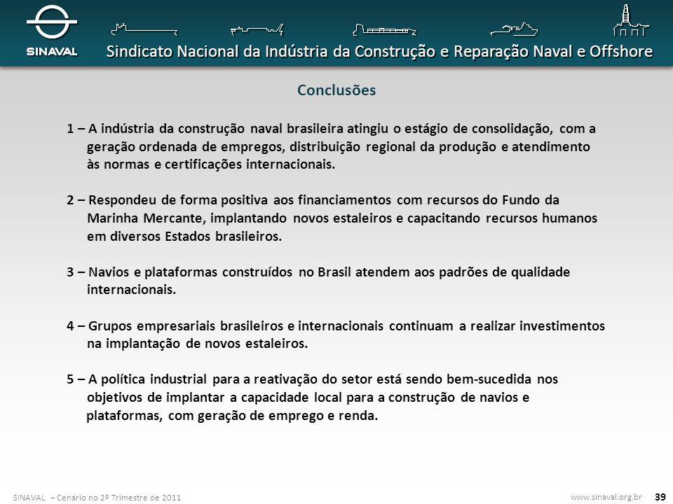 Conclusões 1 – A indústria da construção naval brasileira atingiu o estágio de consolidação, com a.