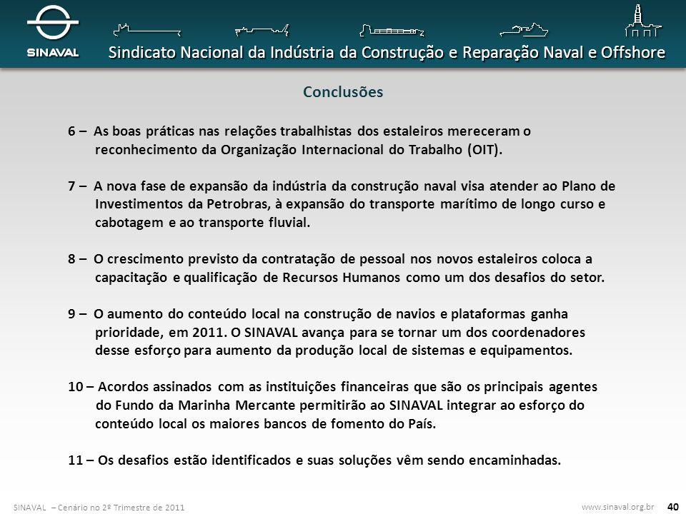 Conclusões6 – As boas práticas nas relações trabalhistas dos estaleiros mereceram o reconhecimento da Organização Internacional do Trabalho (OIT).