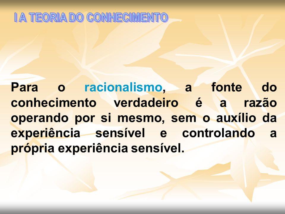 I A TEORIA DO CONHECIMENTO