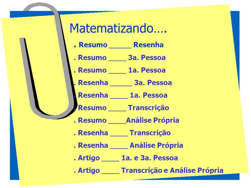 Matematizando…. . Resumo _____ Resenha . Resumo ____ 3a. Pessoa
