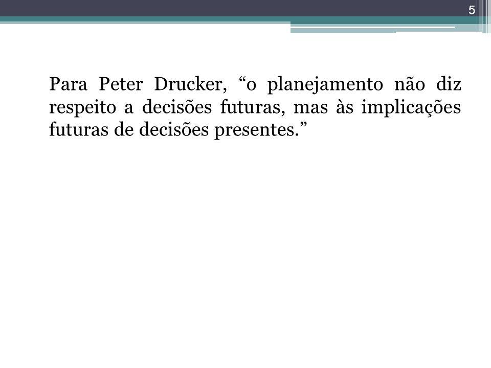 Para Peter Drucker, o planejamento não diz respeito a decisões futuras, mas às implicações futuras de decisões presentes.