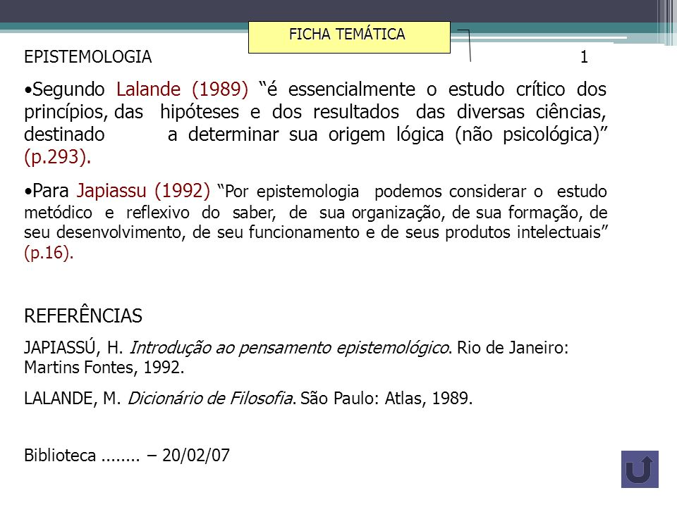 FICHA TEMÁTICAEPISTEMOLOGIA 1.