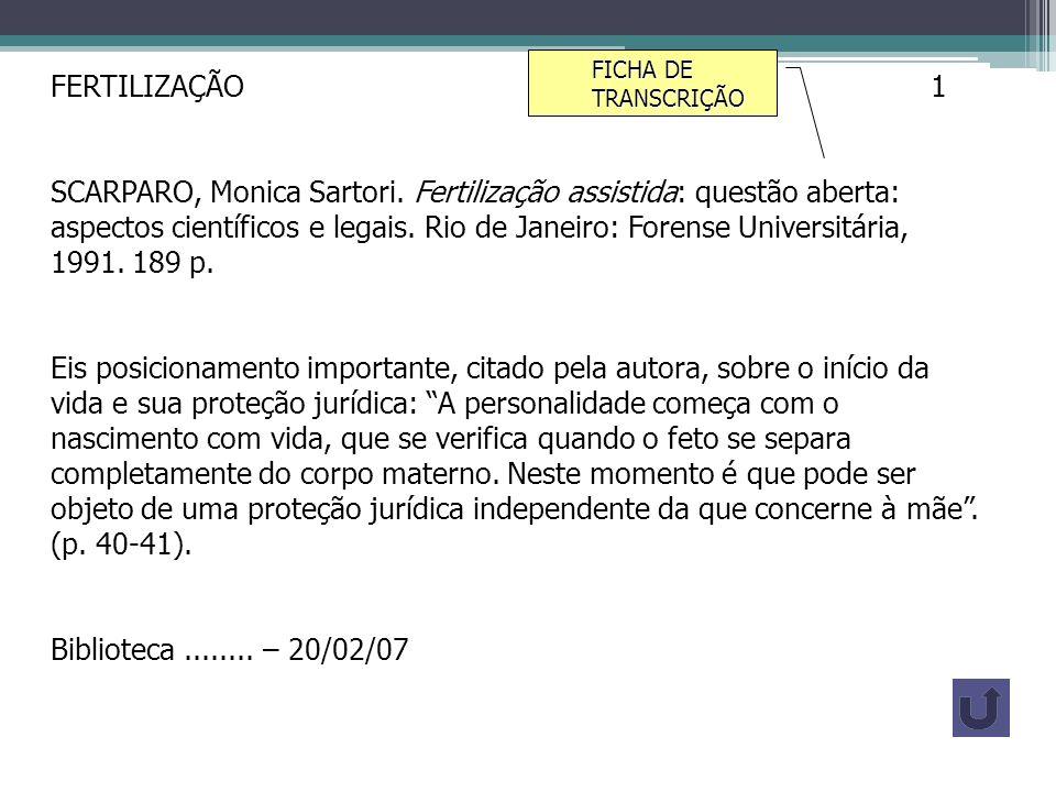 FICHA DE TRANSCRIÇÃO FERTILIZAÇÃO 1.