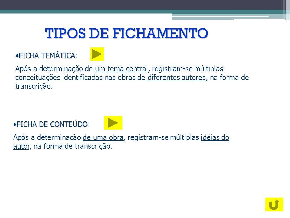 TIPOS DE FICHAMENTO FICHA TEMÁTICA: