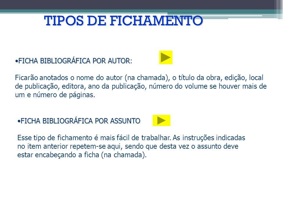 TIPOS DE FICHAMENTO FICHA BIBLIOGRÁFICA POR AUTOR: