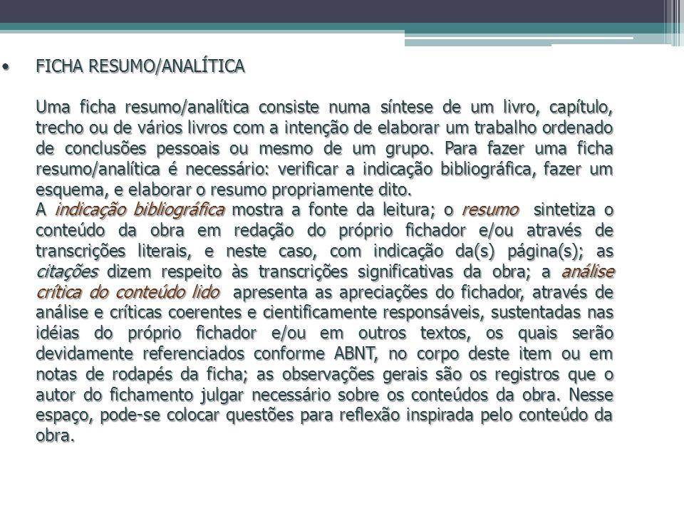 FICHA RESUMO/ANALÍTICA
