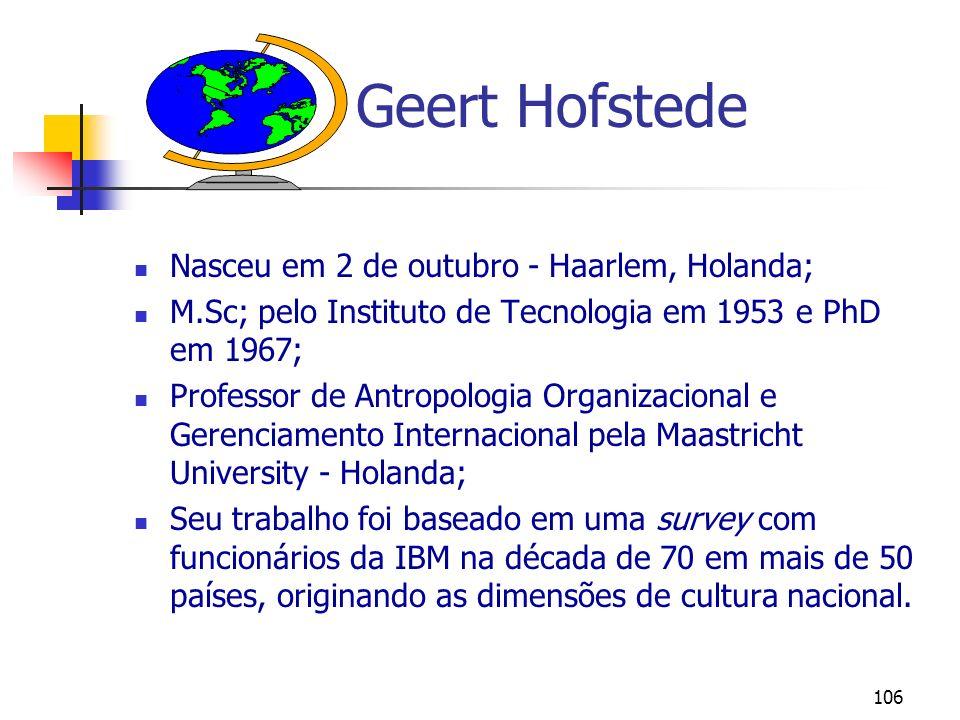 Geert Hofstede Nasceu em 2 de outubro - Haarlem, Holanda;