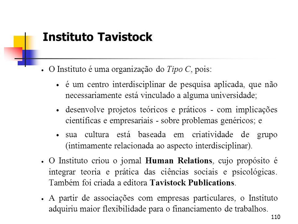 Instituto Tavistock O Instituto é uma organização do Tipo C, pois: