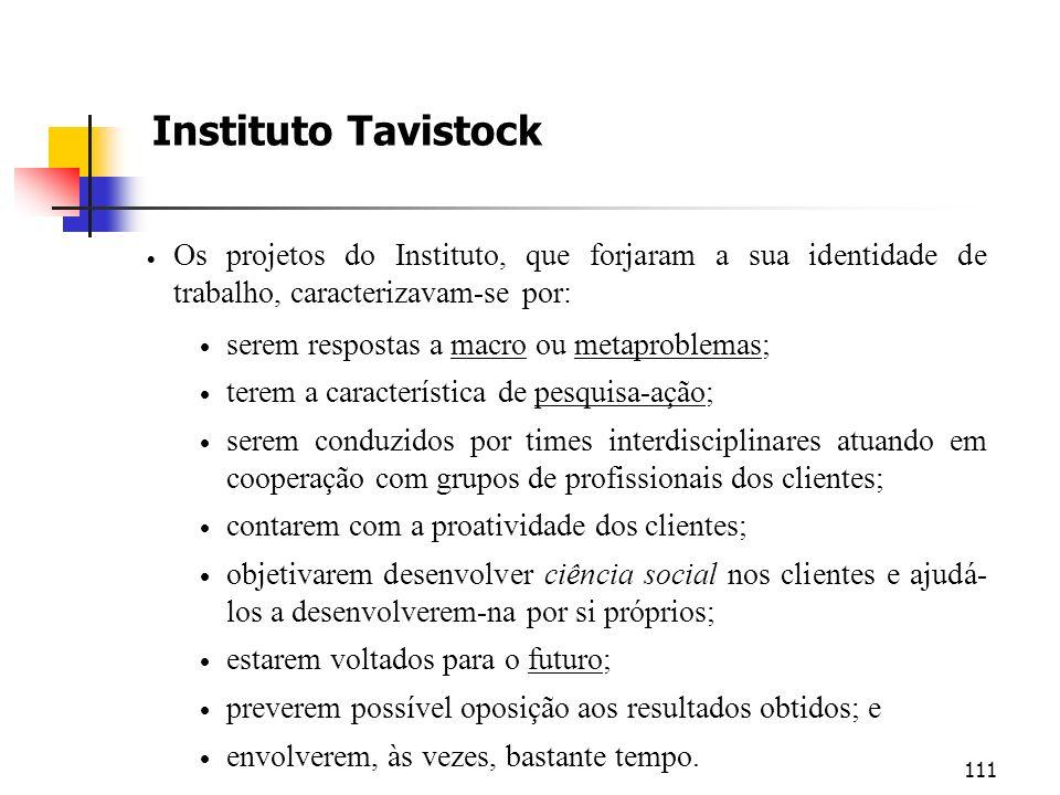 Instituto Tavistock Os projetos do Instituto, que forjaram a sua identidade de trabalho, caracterizavam-se por:
