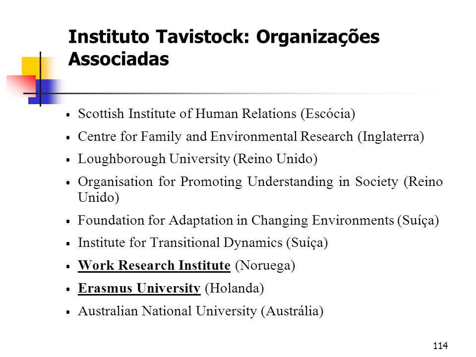 Instituto Tavistock: Organizações Associadas