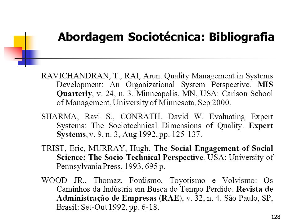 Abordagem Sociotécnica: Bibliografia