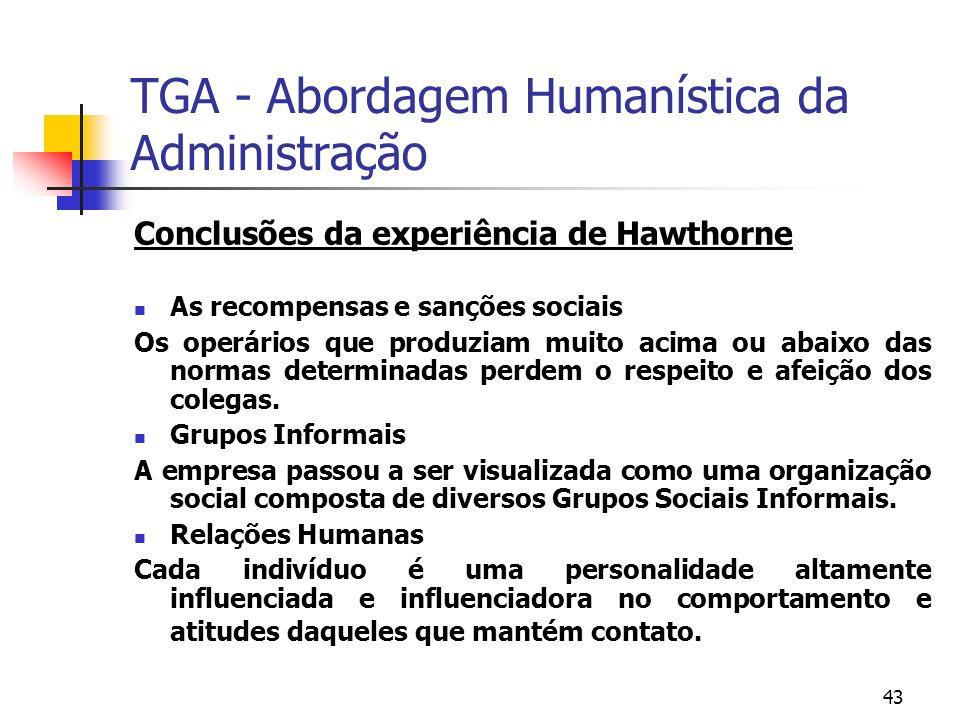 TGA - Abordagem Humanística da Administração