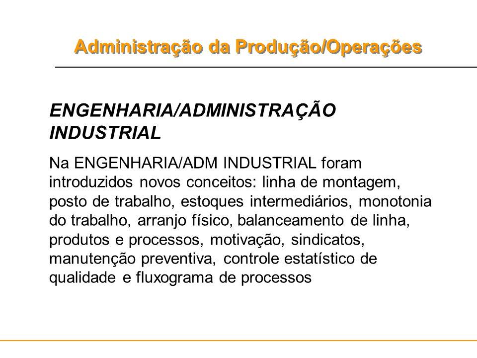 ENGENHARIA/ADMINISTRAÇÃO INDUSTRIAL
