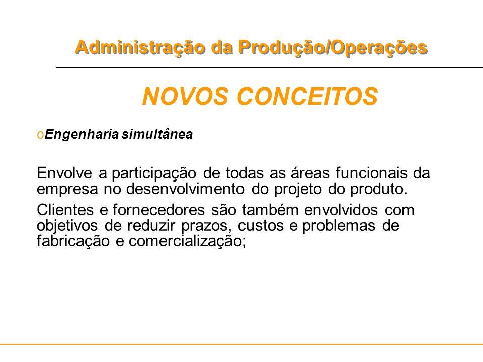 NOVOS CONCEITOS Engenharia simultânea. Envolve a participação de todas as áreas funcionais da empresa no desenvolvimento do projeto do produto.