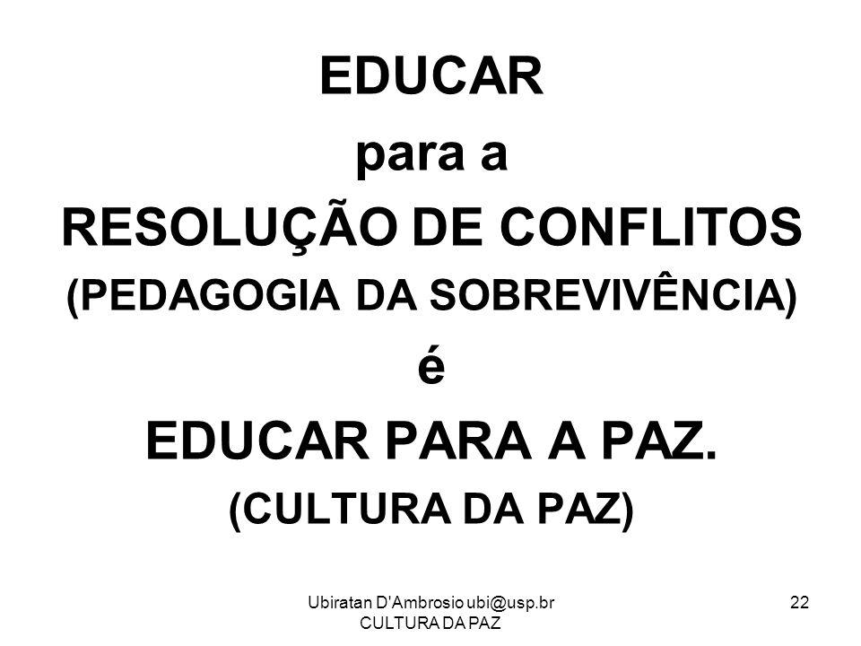 RESOLUÇÃO DE CONFLITOS (PEDAGOGIA DA SOBREVIVÊNCIA)