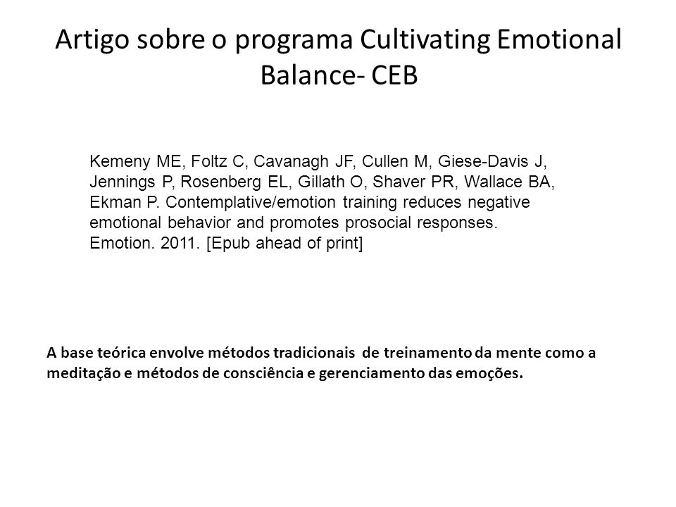Artigo sobre o programa Cultivating Emotional Balance- CEB