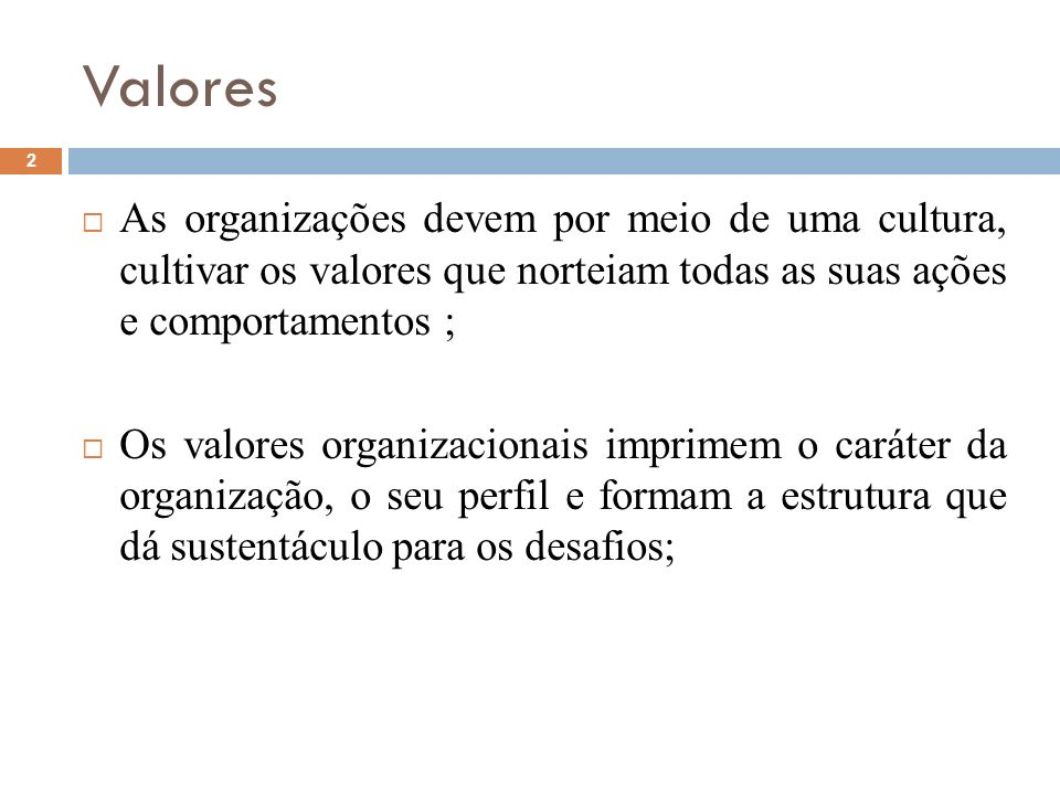 Valores As organizações devem por meio de uma cultura, cultivar os valores que norteiam todas as suas ações e comportamentos ;