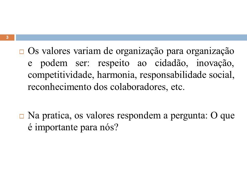 Os valores variam de organização para organização e podem ser: respeito ao cidadão, inovação, competitividade, harmonia, responsabilidade social, reconhecimento dos colaboradores, etc.