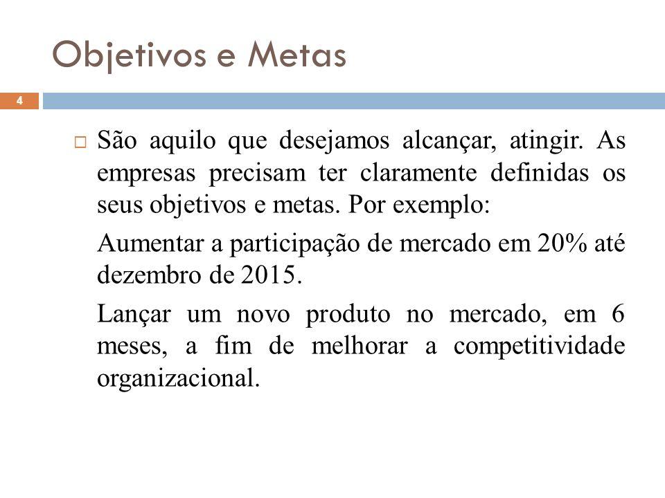 Objetivos e Metas São aquilo que desejamos alcançar, atingir. As empresas precisam ter claramente definidas os seus objetivos e metas. Por exemplo: