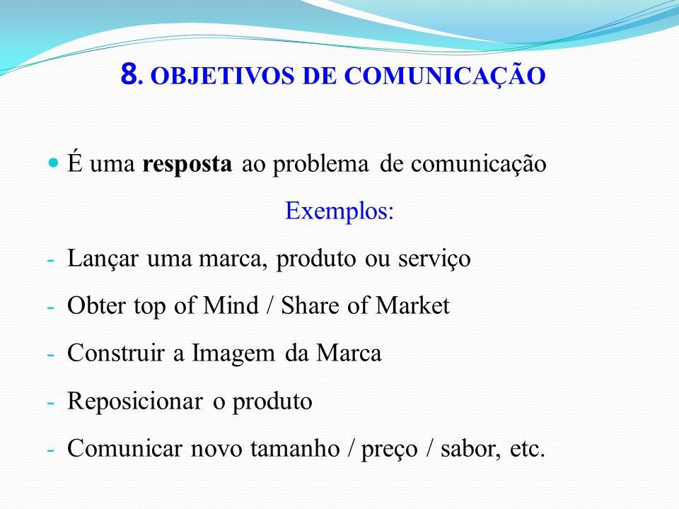 8. OBJETIVOS DE COMUNICAÇÃO