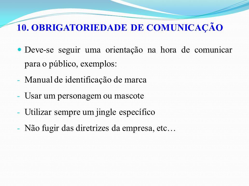 10. OBRIGATORIEDADE DE COMUNICAÇÃO