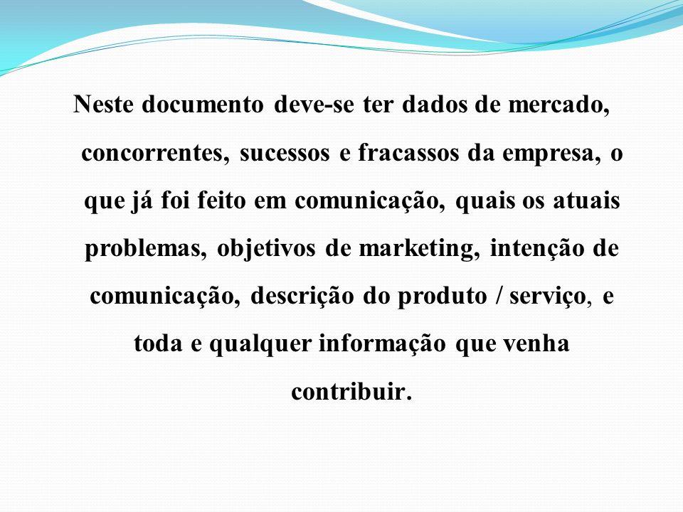 Neste documento deve-se ter dados de mercado, concorrentes, sucessos e fracassos da empresa, o que já foi feito em comunicação, quais os atuais problemas, objetivos de marketing, intenção de comunicação, descrição do produto / serviço, e toda e qualquer informação que venha contribuir.
