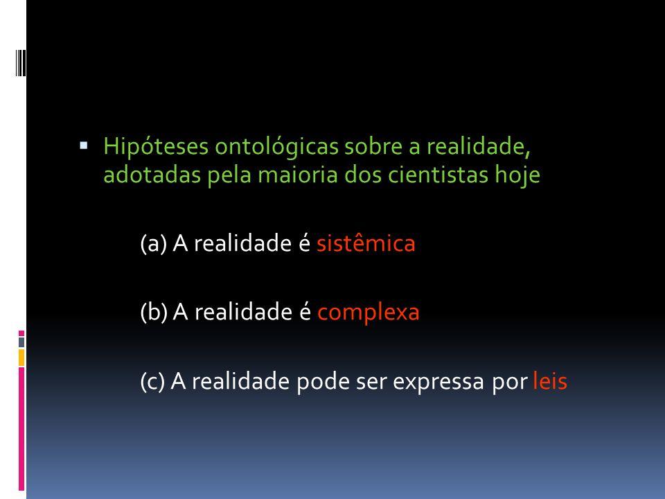 Hipóteses ontológicas sobre a realidade, adotadas pela maioria dos cientistas hoje