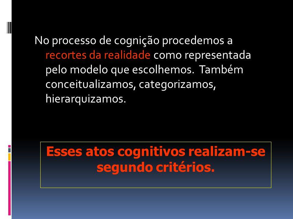 Esses atos cognitivos realizam-se segundo critérios.
