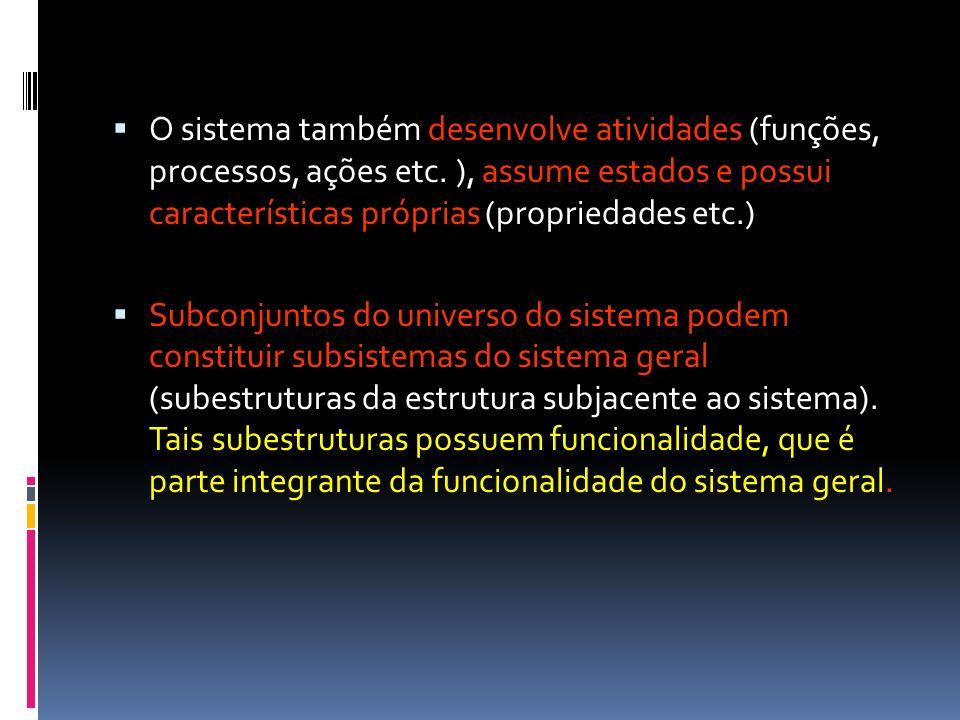 O sistema também desenvolve atividades (funções, processos, ações etc