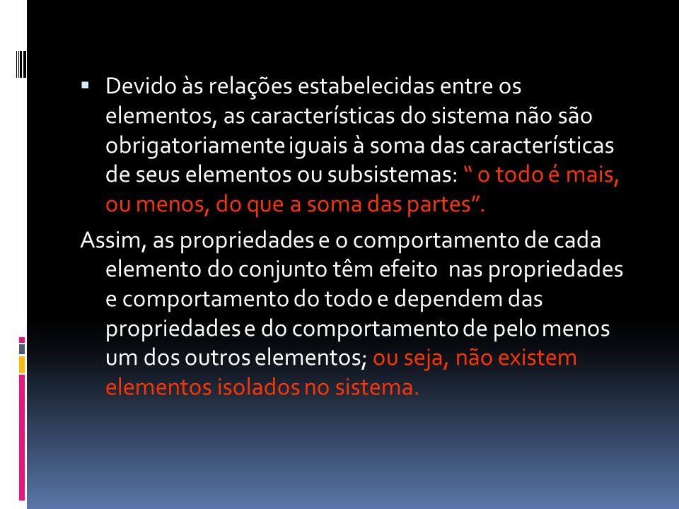 Devido às relações estabelecidas entre os elementos, as características do sistema não são obrigatoriamente iguais à soma das características de seus elementos ou subsistemas: o todo é mais, ou menos, do que a soma das partes .