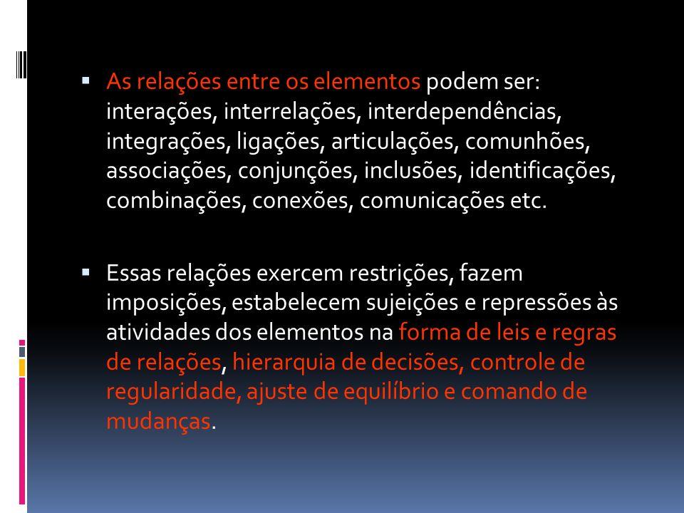 As relações entre os elementos podem ser: interações, interrelações, interdependências, integrações, ligações, articulações, comunhões, associações, conjunções, inclusões, identificações, combinações, conexões, comunicações etc.