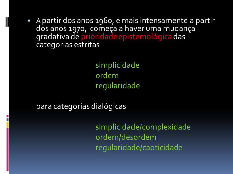 para categorias dialógicas simplicidade/complexidade ordem/desordem