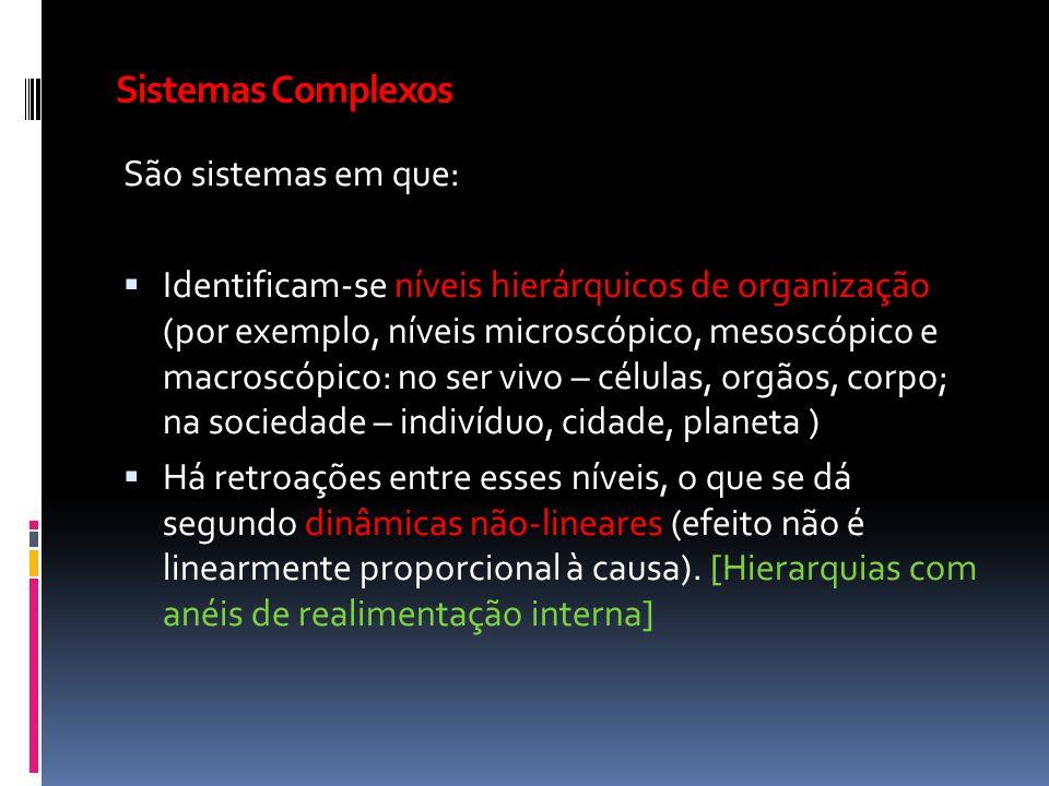 Sistemas Complexos São sistemas em que: