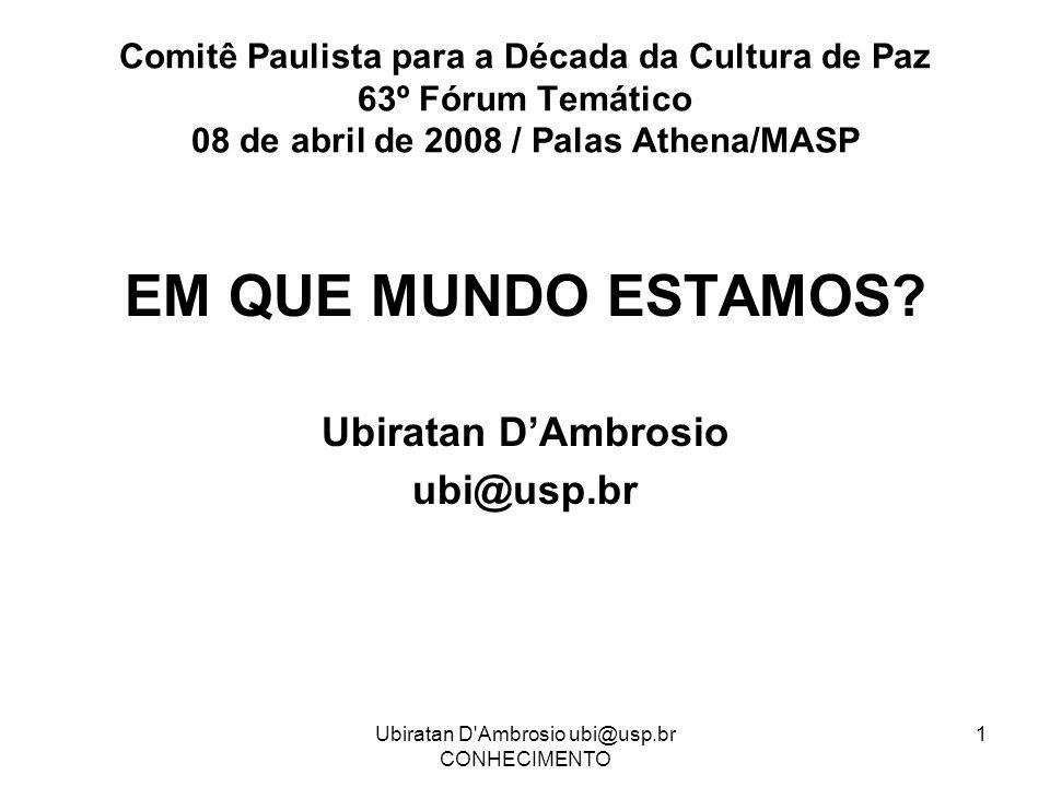 Ubiratan D Ambrosio ubi@usp.br CONHECIMENTO