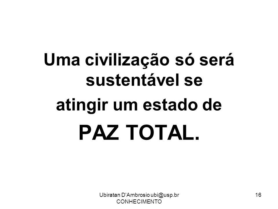 Uma civilização só será sustentável se