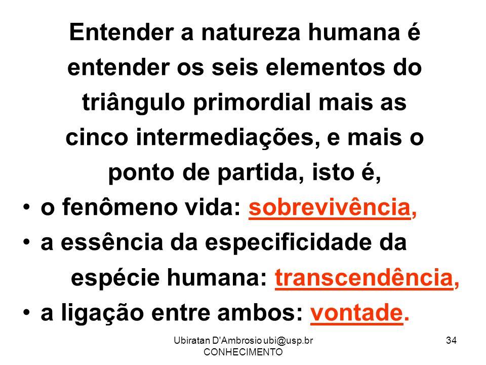 Entender a natureza humana é entender os seis elementos do