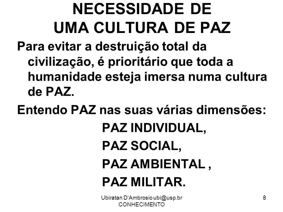 NECESSIDADE DE UMA CULTURA DE PAZ