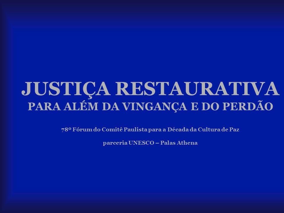 JUSTIÇA RESTAURATIVA PARA ALÉM DA VINGANÇA E DO PERDÃO 78º Fórum do Comitê Paulista para a Década da Cultura de Paz parceria UNESCO – Palas Athena