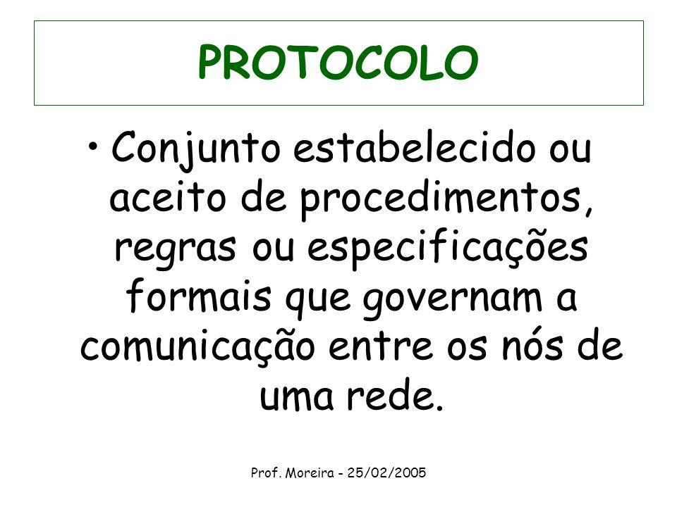 PROTOCOLOConjunto estabelecido ou aceito de procedimentos, regras ou especificações formais que governam a comunicação entre os nós de uma rede.