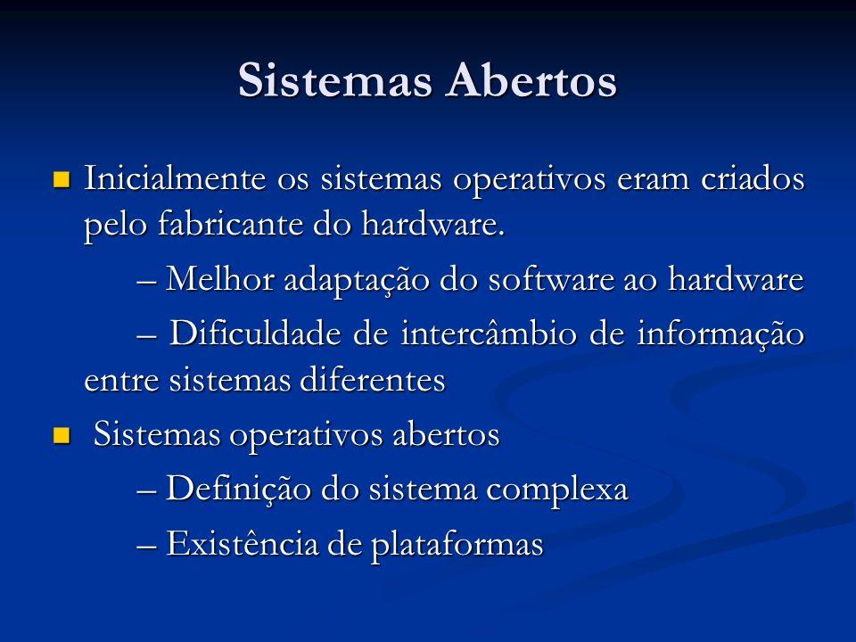Sistemas Abertos Inicialmente os sistemas operativos eram criados pelo fabricante do hardware. – Melhor adaptação do software ao hardware.