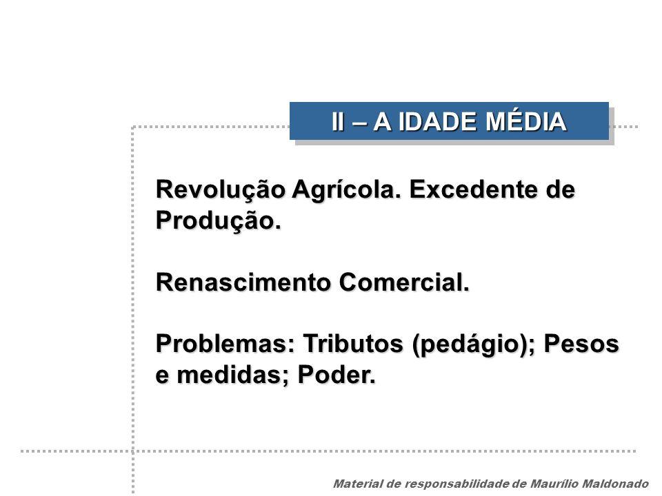 II – A IDADE MÉDIA Revolução Agrícola. Excedente de Produção.